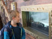 V restauraci byli krabi a velké akvárium.